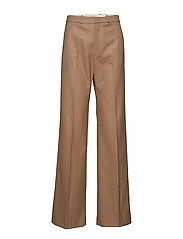 High-waist straight trousers - MEDIUM BROWN