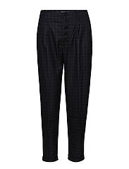 Straight checkered trousers - NAVY