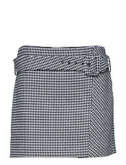 Houndstooth belt miniskirt - BLACK