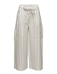 Striped linen-blend trousers - NATURAL WHITE