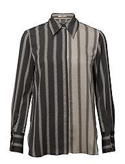 Satin striped shirt - BLACK