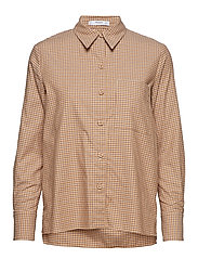 Check cotton shirt - BROWN
