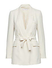 Double-breasted structured blazer - LIGHT BEIGE