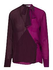 Two-tone flowy blouse - MEDIUM PURPLE