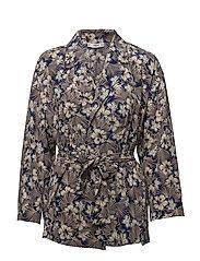 Floral print kimono - MEDIUM BLUE