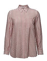 Striped textured shirt - RED