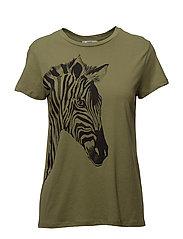 Organic printed cotton t-shirt - BEIGE - KHAKI