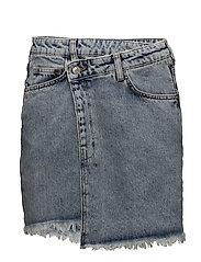 Wrap-waist denim skirt - OPEN BLUE