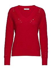 Openwork cotton sweater - RED