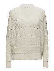 Embroidered cotton sweater - LIGHT BEIGE