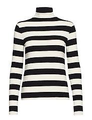Striped turtleneck t-shirt - BLACK