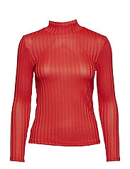 Stand collar t-shirt - RED