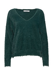 Faux fur knit sweater - DARK GREEN