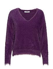 Faux fur knit sweater - MEDIUM PURPLE