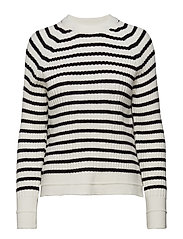 Knit striped sweater - BLACK