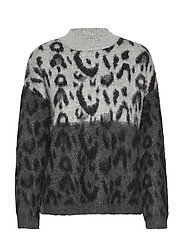 Leopard texture sweater - BLACK