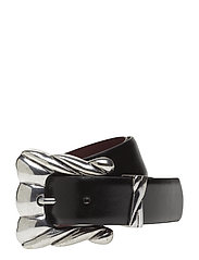 Embossed buckle belt - BLACK