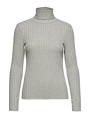 Ribbed high neck t-shirt - LT PASTEL GREY
