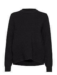 Stripe textured sweater - BLACK