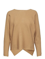 Ribbed knit sweater - MEDIUM BROWN