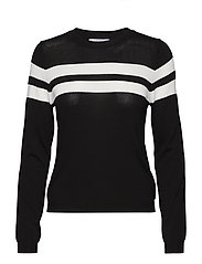 Contrasting stripes sweater - BLACK