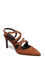 Strap leather shoes - DARK ORANGE