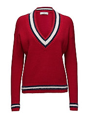 Contrasting knit sweater - RED