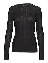 Fine-knit sweater - BLACK