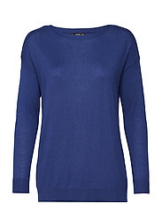 Ribbed knit sweater - BRIGHT BLUE