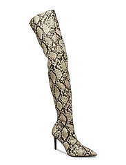 Snake effect high-leg boots - LIGHT BEIGE