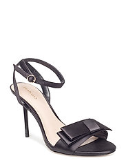 Bow satin sandals - BLACK