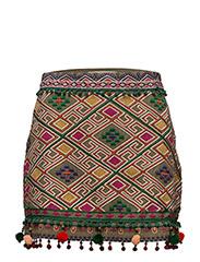 Pom poms embroidered skirt - BEIGE - KHAKI