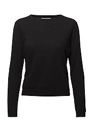 Fine-knit cotton sweater - BLACK