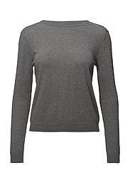 Fine-knit cotton sweater - MEDIUM GREY