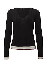 Contrast-edge sweater - BLACK