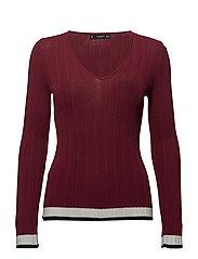 Contrast-edge sweater - DARK RED