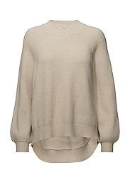 Puffed sleeves ribbed jumper - LIGHT BEIGE