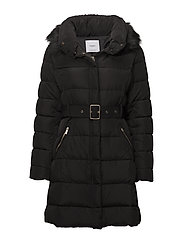 Quilted feather coat - BLACK