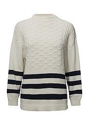 Striped cotton-blend sweater - LIGHT BEIGE