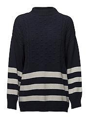 Striped cotton-blend sweater - NAVY