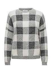 Checks knitted sweater - LIGHT BEIGE