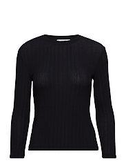 Metallic ribbed t-shirt - BLACK