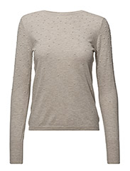 Swiss tulle panel sweater - LT PASTEL BROWN