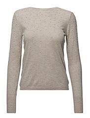 Swiss tulle panel sweater - LT PASTEL BROWN