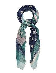 Contrasting print scarf - MEDIUM BLUE
