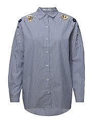Beaded stripped shirt - MEDIUM BLUE
