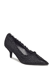 Heel tweed shoes - BLACK