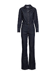 Belt denim jumpsuit - OPEN BLUE