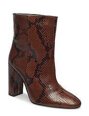 Snake leather ankle boots - BROWN