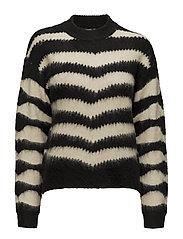Zebra textured sweater - BLACK